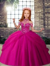 Admirable Sleeveless Beading Lace Up Kids Pageant Dress