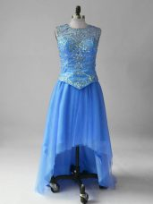 Hot Sale Blue Empire Scoop Sleeveless Tulle High Low Brush Train Lace Up Beading Runway Inspired Dress