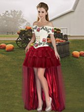 Elegant Sleeveless Organza High Low Lace Up Pageant Dress for Teens in Wine Red with Embroidery and Ruffled Layers