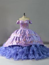 Off The Shoulder Sleeveless Organza Vestidos de Quinceanera Embroidery and Ruffles Chapel Train Lace Up