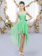 Chiffon Sleeveless High Low Quinceanera Dama Dress and Beading
