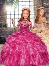 High-neck Sleeveless Little Girl Pageant Dress Floor Length Beading and Ruffles Hot Pink Organza
