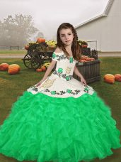Green Straps Lace Up Embroidery and Ruffles Kids Formal Wear Sleeveless