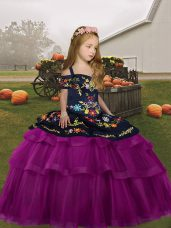 Unique Fuchsia Long Sleeves Tulle Lace Up Party Dress Wholesale for Party and Wedding Party