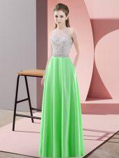 Scoop Sleeveless Prom Dress Floor Length Beading Green Satin