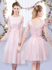 Nice Baby Pink Empire Tulle Scoop Half Sleeves Lace and Belt Tea Length Lace Up Dama Dress