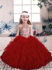 Sleeveless Tulle Floor Length Lace Up Little Girl Pageant Dress in Red with Beading and Ruffles