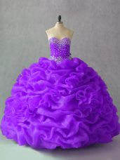 Top Selling Purple Sweetheart Neckline Beading and Pick Ups and Hand Made Flower Quinceanera Gown Sleeveless Lace Up