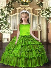 Superior Scoop Sleeveless Girls Pageant Dresses Floor Length Ruffled Layers Olive Green