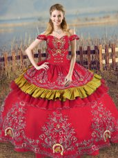 Enchanting Red Sleeveless Embroidery Floor Length Quinceanera Gown