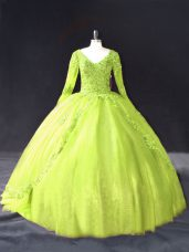Noble Yellow Green Lace Up 15th Birthday Dress Lace and Appliques Long Sleeves Floor Length