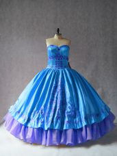 Luxury Sweetheart Sleeveless Quinceanera Dresses Floor Length Embroidery Blue Satin and Organza