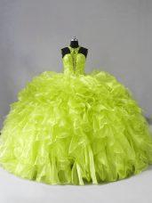 Fine Yellow Green Sleeveless Beading and Ruffles Zipper 15 Quinceanera Dress