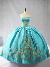 Flare Aqua Blue Sleeveless Satin Lace Up Sweet 16 Quinceanera Dress for Sweet 16 and Quinceanera