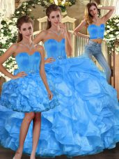 Sweetheart Sleeveless Quinceanera Dresses Floor Length Ruffles Baby Blue Organza