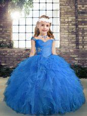Straps Sleeveless Kids Formal Wear Floor Length Beading and Ruffles Blue Tulle