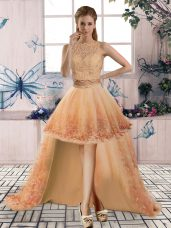 Scoop Sleeveless Junior Homecoming Dress High Low Beading and Lace Gold Tulle
