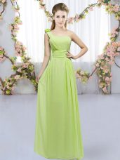 Yellow Green Empire One Shoulder Sleeveless Chiffon Floor Length Lace Up Hand Made Flower Bridesmaid Dress