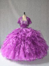 Custom Designed Purple Strapless Neckline Beading and Ruffles Sweet 16 Dress Sleeveless Lace Up