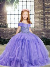 Ball Gowns Little Girl Pageant Dress Lavender Off The Shoulder Taffeta and Tulle Sleeveless Floor Length Lace Up