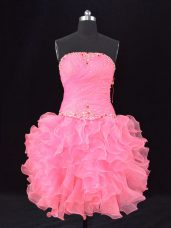 Dazzling Sleeveless Beading and Ruching Lace Up Dress Like A Star with Rose Pink