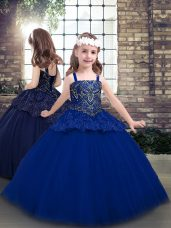 Blue Custom Made Party and Military Ball and Sweet 16 with Beading Straps Sleeveless Lace Up