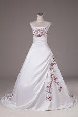 Satin Sleeveless Wedding Dresses Brush Train and Embroidery