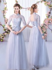 Empire Dama Dress for Quinceanera Grey High-neck Tulle Half Sleeves Floor Length Lace Up