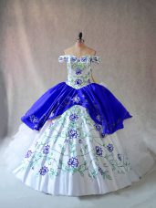 Blue And White Sweet 16 Dresses Sweet 16 and Quinceanera with Embroidery and Ruffles Off The Shoulder Sleeveless Lace Up
