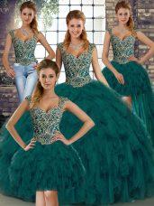 Sophisticated Floor Length Peacock Green 15th Birthday Dress Organza Sleeveless Beading and Ruffles