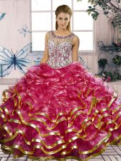Charming Fuchsia Sleeveless Organza Lace Up Sweet 16 Quinceanera Dress for Military Ball and Sweet 16 and Quinceanera