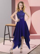 Cheap Empire Homecoming Dress Purple High-neck Chiffon Sleeveless Asymmetrical Zipper