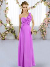 Sophisticated Lilac Chiffon Lace Up One Shoulder Sleeveless Floor Length Wedding Party Dress Hand Made Flower