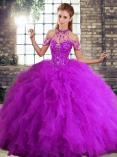 Purple Ball Gowns Halter Top Sleeveless Tulle Floor Length Lace Up Beading and Ruffles Sweet 16 Quinceanera Dress