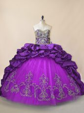 Sleeveless Beading and Pick Ups Lace Up Quinceanera Gown with Purple Brush Train
