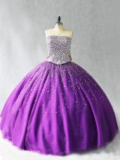 Organza Sleeveless Floor Length Sweet 16 Dress and Beading