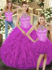 Classical Fuchsia Sleeveless Tulle Lace Up Quinceanera Dress for Military Ball and Sweet 16 and Quinceanera