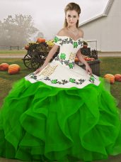 Green Lace Up Off The Shoulder Embroidery and Ruffles Quinceanera Gown Tulle Sleeveless