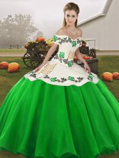 Fantastic Green Off The Shoulder Lace Up Embroidery Quinceanera Gowns Sleeveless