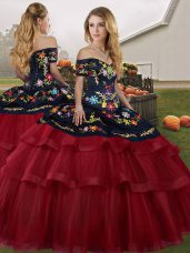 4a713d1e98c Sleeveless Tulle Brush Train Lace Up Vestidos de Quinceanera in Wine Red  with Embroidery and Ruffled Layers  US  234.7300