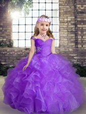 Gorgeous Purple Lace Up Child Pageant Dress Beading Sleeveless Floor Length
