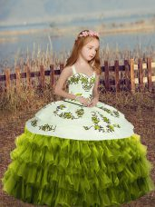 Green Straps Lace Up Embroidery and Ruffled Layers High School Pageant Dress Sleeveless