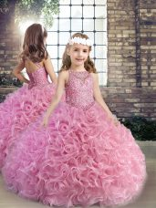 Sleeveless Floor Length Beading Lace Up Little Girls Pageant Gowns with Pink