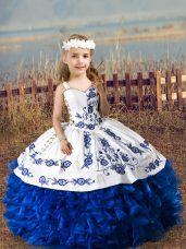 Fashion Floor Length Lace Up Pageant Gowns For Girls Royal Blue for Wedding Party with Embroidery and Ruffles