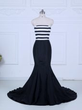 Clearance Brush Train Mermaid Juniors Evening Dress White And Black Strapless Satin Sleeveless Lace Up