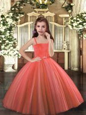 Sleeveless Tulle Floor Length Lace Up Little Girls Pageant Dress in Rust Red with Beading