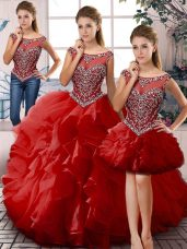 Sleeveless Organza Floor Length Lace Up Sweet 16 Dress in Red with Beading and Ruffles