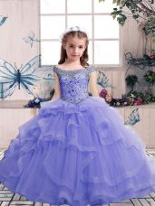 Excellent Lavender Sleeveless Beading Floor Length Little Girl Pageant Gowns