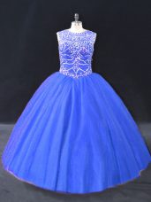 Cheap Ball Gowns Vestidos de Quinceanera Blue Scoop Tulle Sleeveless Floor Length Lace Up