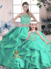 Tulle Sleeveless Floor Length 15 Quinceanera Dress and Beading and Lace and Ruffles